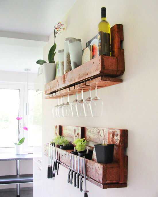 DIY Kitchen Shelves out of Wooden Pallet