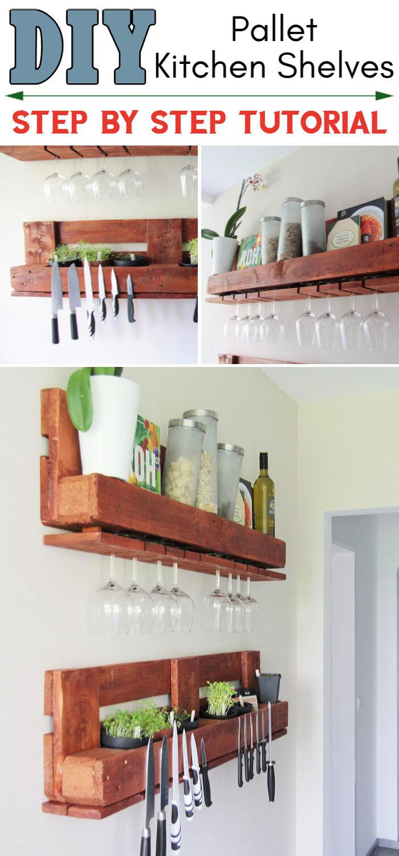 Pallet Shelves for Kitchen (DIY Tutorial)